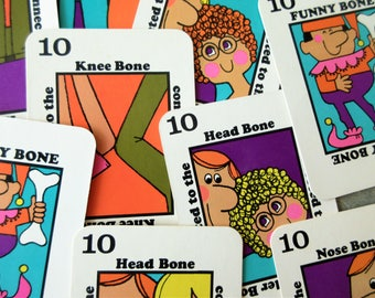 Vintage Game, Funny Bones Game, 1960s Adult Game, Parker Brothers Game, Sixties Graphics, Mod Graphics, Vintage Funny Bones, Oversized Cards