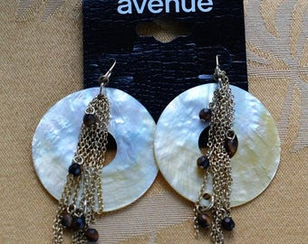 "ON SALE Mother of Pearl Shell Dangle Pierced Earrings, Vintage, Brown Stone, Chain Dangle, ""Avenue"" (V2)"