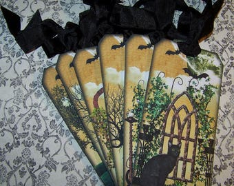 Halloween Tags Halloween Black Cat Tags Party Favors Vintage Style - Set of 6