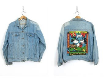 1980s Sequin Mickey Mouse & Minnie Jean Jacket Its Party Time Disney Coat 1980s Novelty Jacket Bleached Retro Hipster Coat Womens size Large