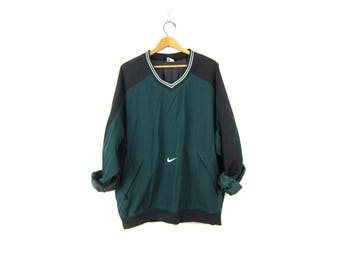 NIKE pullover windbreaker jacket Sporty black & green slouchy workout shirt athletic wear sports sporty track Nylon pullover COED Size XL