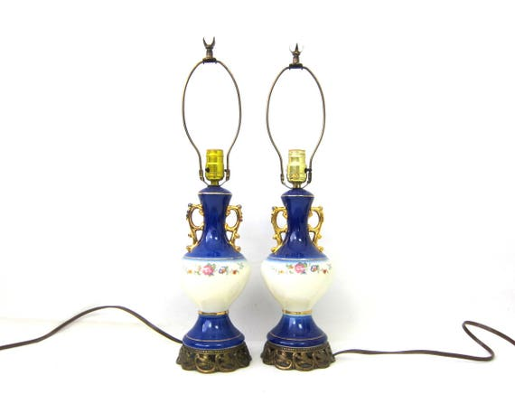 Blue Floral side table lamps Vintage Pair Set of Blue & White Desk Lamps Accents Hollywood Regency Home Decor Ornate Gold Metal Bottoms GS