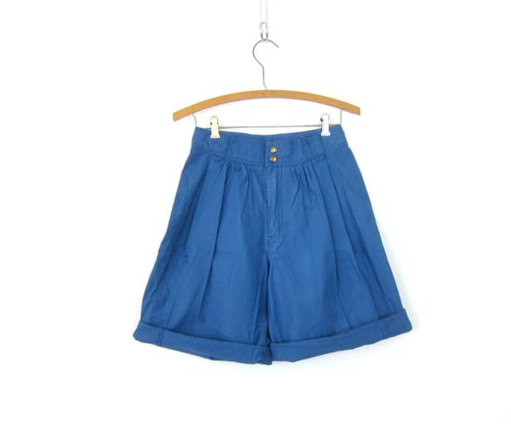 90s Long Blue Shorts High Waist Pleated Shorts High Rise Hipster Wide Leg Preppy Vintage Cotton Shorts Womens Size 4 Small