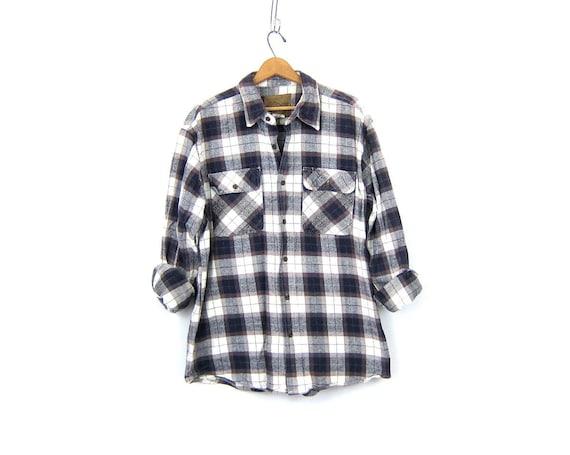 Vintage Plaid Flannel Shirt Brown Blue White Cotton Button Up Shirt Boyfriend Shirt Oversized Preppy Grunge Oxford Top Unisex XL Extra Large