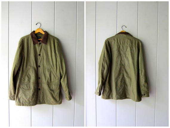 Vintage Army Green Coat 90s Chore Jacket Ranch Coat Oversized Fall Winter Quilted Field Jacket Hipster Work Cotton Barn Coat Men's Large