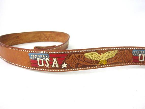 Brown Tooled Leather Belt Western USA Eagle Birds Belt Americana Flag Cowboy Belt Men's Size 40 Made in Mexico