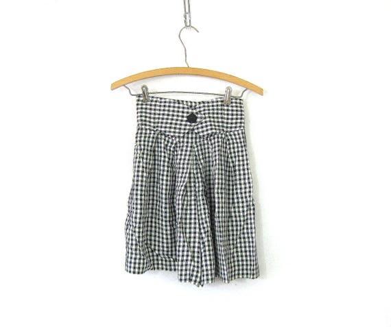 Black & White SKORT Culotte shorts Wide Leg Shorts Mini Checkered Skirt Gingham Pattern Shorts High Waist Elastic Shorts GS Women's Small