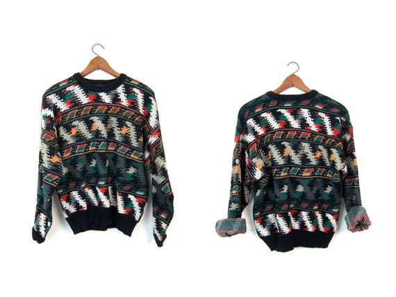 Geometric tribal sweater 80s Knit Pullover Red Green Black Boho Sweater Oversized Retro Knit Pullover Fall Earth Colors Abstract Print Large
