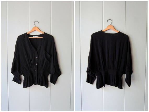 Minimal Blouse 90s Black Rayon Shirt Long Sleeve Top Button Up Cropped Dolman Blouse Minimal Crop Slouchy Shirt Womens Small Medium