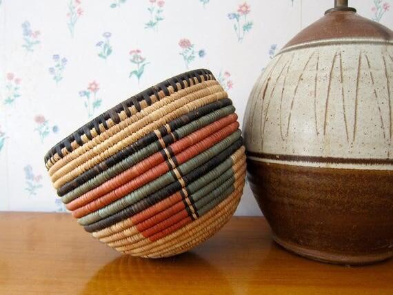 Hand Woven Bowl NIGERIAN Bowl Decorative Natural Woven Wall Basket Coil Basketweave Deep Fruit Bowl Modern Earthy Home Decor Bohemian Chic