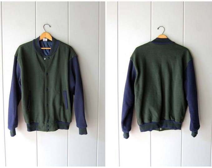 Green Blue Varsity Jacket 90s Sweatshirt Jacket Snap Up Baseball Coat DES 1990s Vintage Hip Hop Hipster Cotton Jacket Medium Large