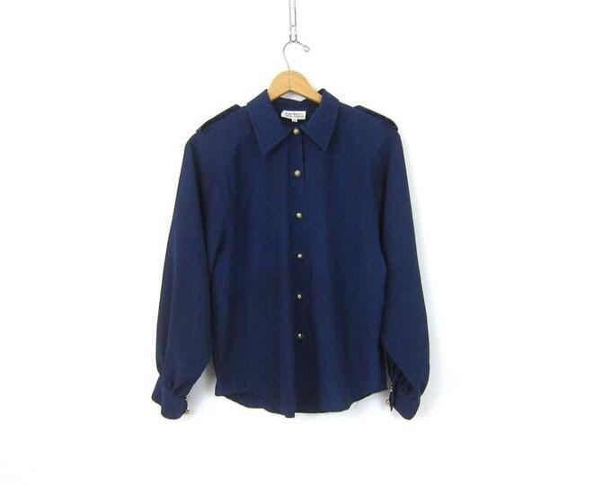 Long Sleeve Navy Blue Blouse Gold Button Up Shirt Minimal Slouchy Secretary Top Cpllar and Epaulets Shirt Womens Size 10 Medium Large