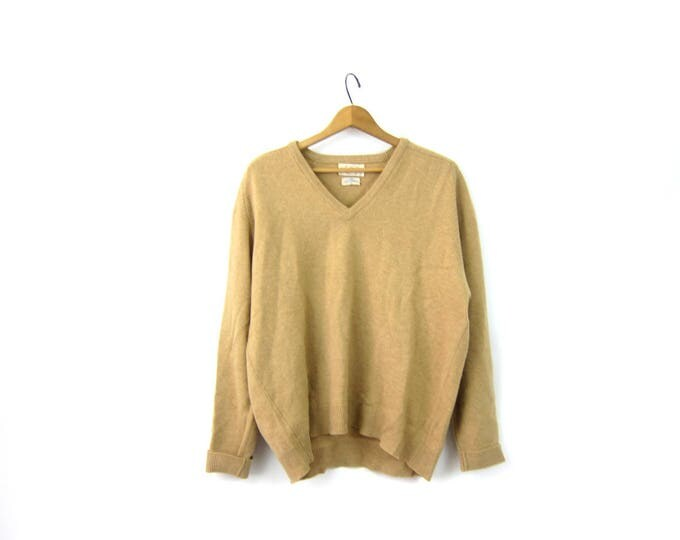 Khaki Beige Wool Sweater 70s Alan Paine Sweater Preppy Boyfriend Pullover VNeck Casual Sweater Minimal Prep Sweater Mens 46 XL