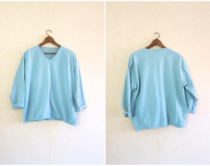 90s Oversized Sweatshirt Light Blue Pullover Thin Sweatshirt Long Sleeve Slouchy Pullover Baggy Athletic V Neck Cotton Shirt Womens XL 2XL