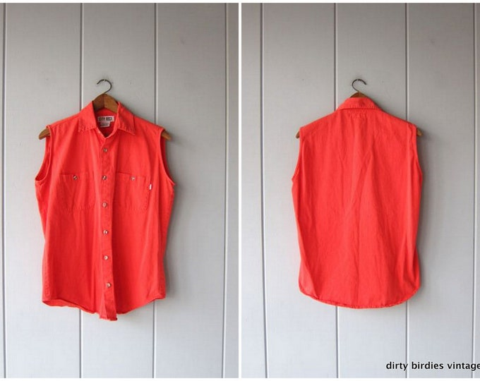 Red Sleeveless Top | 80s Button Up Tank Top | Basic Summer Top Casual Collared Tank Top with Chest Pockets Mens Small / Womens Large