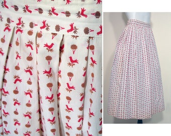 Vintage 1950s Birds and Tree Print Cotton Skirt SZ S