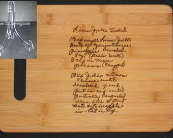 Recipe scanned from Mom's or Grandma's handwriting - Bamboo Cutting Board with Laser Engraved Recipe -Personalized  13 x 9.5 + Acrylic Stand