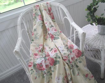 Vintage Curtain Panel * Martha Stewart * Barkcloth Twill * Shabby Cottage * Cabbage Roses