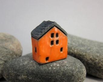 Raku House Focal Bead/Pendant...Orange