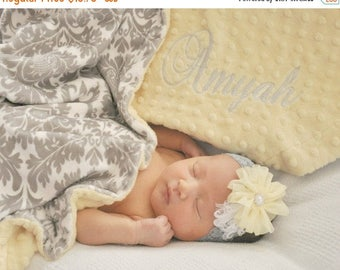 SALE Light Yellow Minky Dot and Gray Damask Minky Baby Blanket, Gender Neutral Baby Blanket Can Be Personalized