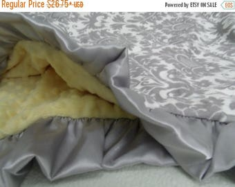 SALE Minky Baby Blanket in Yellow Minky Dot and Gray Damask Can Be Personalized