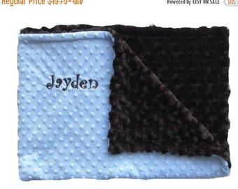 SALE Blue and Brown Minky Baby Blanket Can Be Personalized