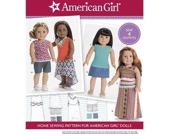 """Officially Licenced American Girl Doll Clothes Pattern for 18"""" Doll Pattern 4 Outfits Boho Doll Clothes Doll Clothes Simplicity 8040"""
