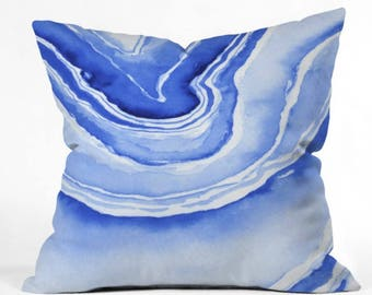 Blue Agate Indoor Throw Pillow