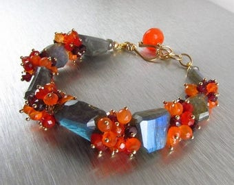 25 OFF Chunky Labradorite Bracelet With Carnelian And Garnet