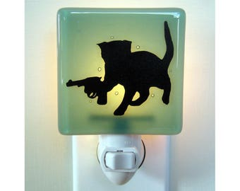 Funny Cat - Hand Painted Fused Glass Night Light