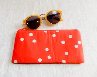 Boho Pouch, Change Purse, Coin Purse, Zipper Pouch, Fabric Pouch, Pouch, Gift for Her, Gift Under 20, Indonesian Batik Pouch, Orange Dots