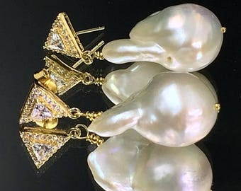 FLASH SALE Nucleated Baroque Pearl Earrings Gold Vermeil Post Wire Wrap Ivory Pearl Dangle Earrings Ivory Luxury Nucleated Baroque Pearl Ear