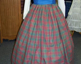 Victorian Civil War Ladies Long drawstring Skirt  Red, black, Teal and Royal Blue Plaid Homespun or Royal Blue sash one size fit all