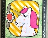 Be me unicorn mixed media collage art plaque by Things With Wings