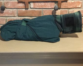 """FREE US SHIPPING Forrest Green Ripstop Dog Coat with Green Plaid Fleece (#00068) Size 14"""" Back"""