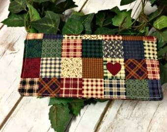 Checkbook Cover/handmade/checkbook/ready to ship/Quilted Checkbook/Primitive Checkbook/Fabric Checkbook/check book cover/checkbook wallet
