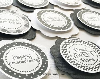 Black and White Housewarming Party Cupcake Toppers, Housewarming Party Décor, New House or Welcome Home Party - Ships Quick, Free Shipping