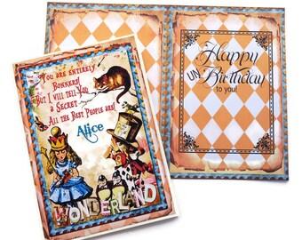 Alice in Wonderland, Un-Birthday Card, Cheshire Cat, Tea Party, Eat me,Children Fairytale, Playing Cards, Retro Vintage, Happy Un Birthday