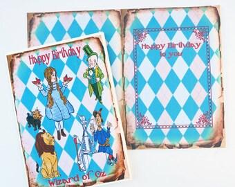 Wizard of Oz Birthday Card,Tea Party, Eat me,White Rabbit, Children Fairytale, Playing Cards, Retro Vintage