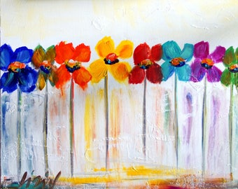 RAINBOW COLORS Painting Flowers Whimsical Painting on Canvas 24x20 Art by Luiza Vizoli
