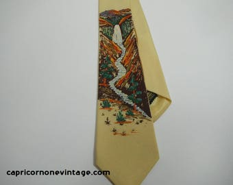 Vintage Hand Painted Tie 1940s Penney's Towncraft Tie Waterfall & Canyon 1950s Men's Rockabilly Necktie Swing Tie Glitter Rayon Silk