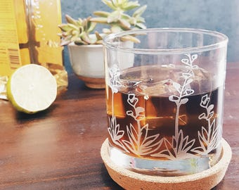 Agave Succulent Cactus Glass | Etched Rocks Glass | Cactus Wedding | Succulent Kitchen | Cactus Decor