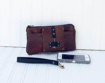 Brown & Black Leather Smartphone Wallet, Wristlet, Clutch, Organizer, iPhone 7 Plus Wallet