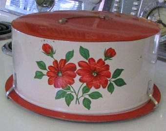 Vintage Tin Cake Cover Carrier Keeper Cake Tin Decoware Locking Cake Carrier Red Flowers