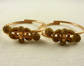 Pair of Antique Victorian Gold Filled Etruscan Wedding Bracelets, Hinged Bangles