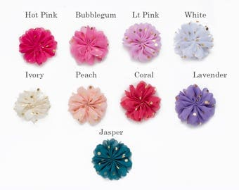 """BUYER PICK your color x 3  : 2"""" Gold Dot Chiffon Pinwheel Craft Flower for Headband DIY Kits  Girls Accessories Baby Showers Festival Crowns"""