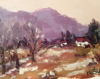 Small landscape painting with  mountains and cottages, original expressive art