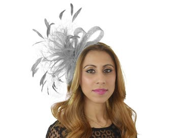 Small Silver Fascinator Kentucky Derby or Wedding Hat **SAMPLE SALE