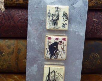 Magnet set - Recycled - Upcycled - Vintage scrabble tile Magnet Gift Set - by SteampunkJunq