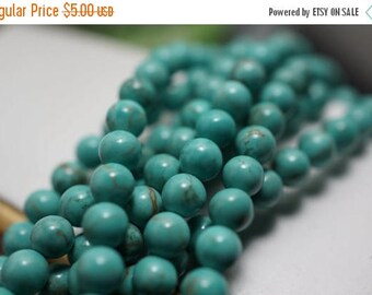 SUMMER SALE NEW - Small Turquoise Round Beads - 4mm - 50 pcs